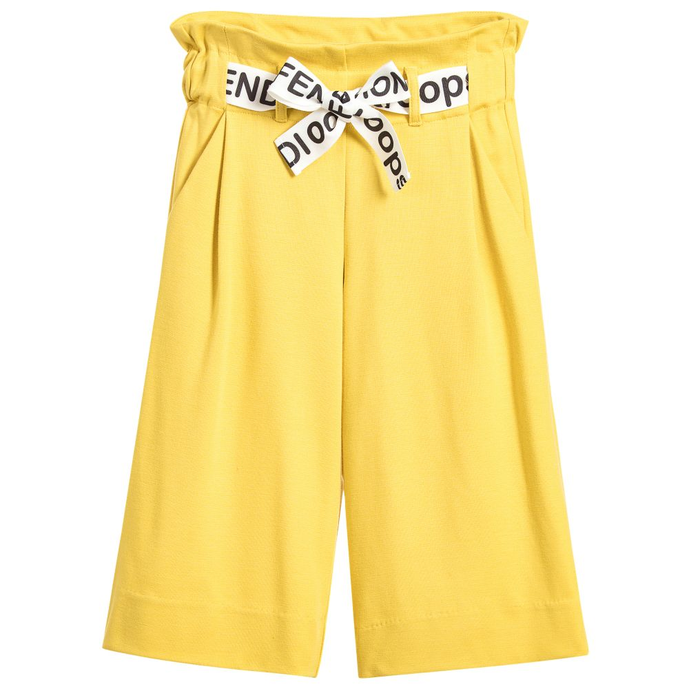 These cropped trouser's are a combination of fashion and function making them ideal for any occasion.  - Fendi Girls Yellow Cropped Trousers                    childrensalon.com                                                   $335