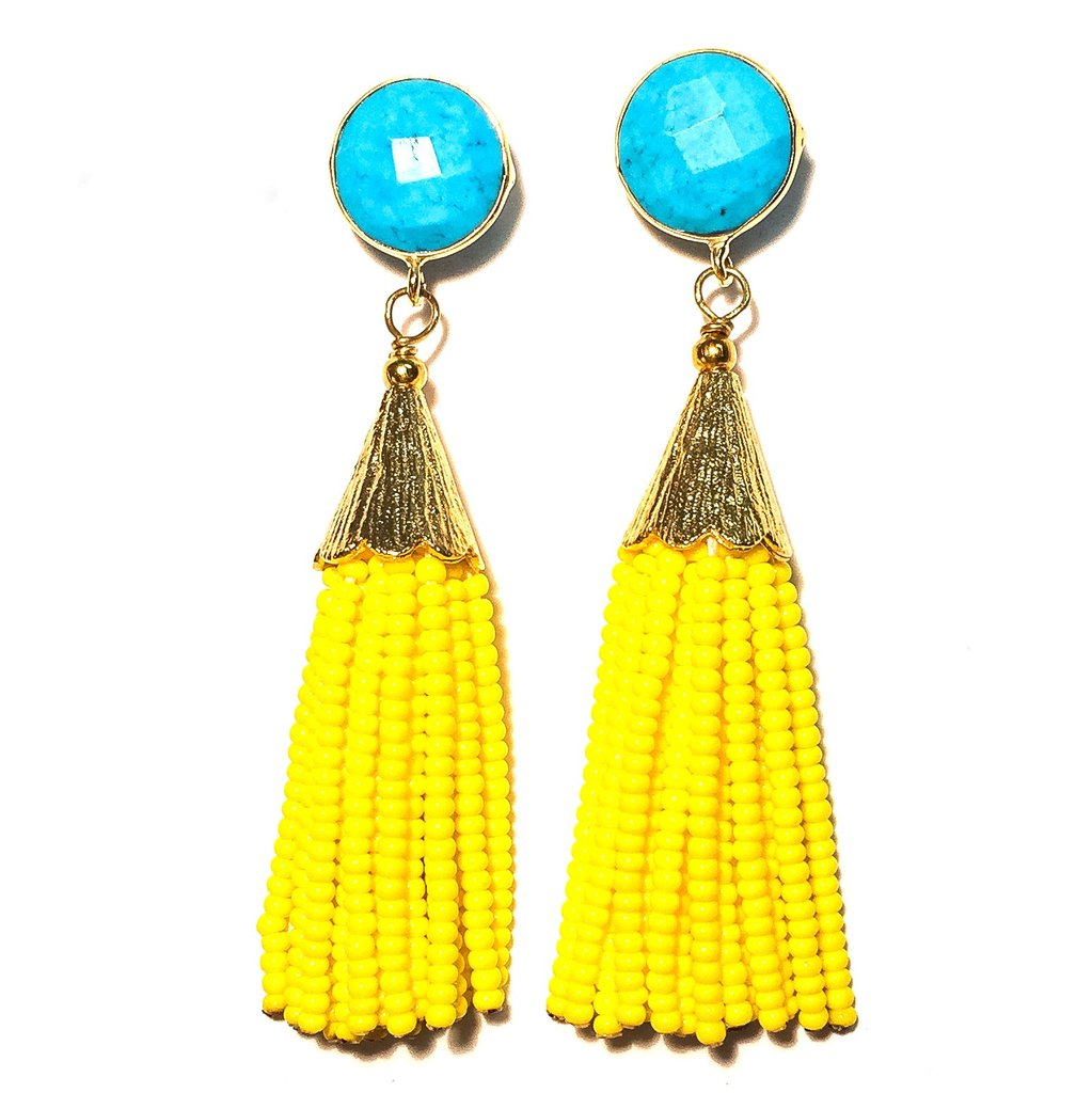 Enhance your go-to outfit with a pop of color by accessorizing with these tassel earrings that continue to be on-trend. - Cha Cha Cha Turquoise & Yellow Tassel Earrings  ckbradley.com                                                         $90