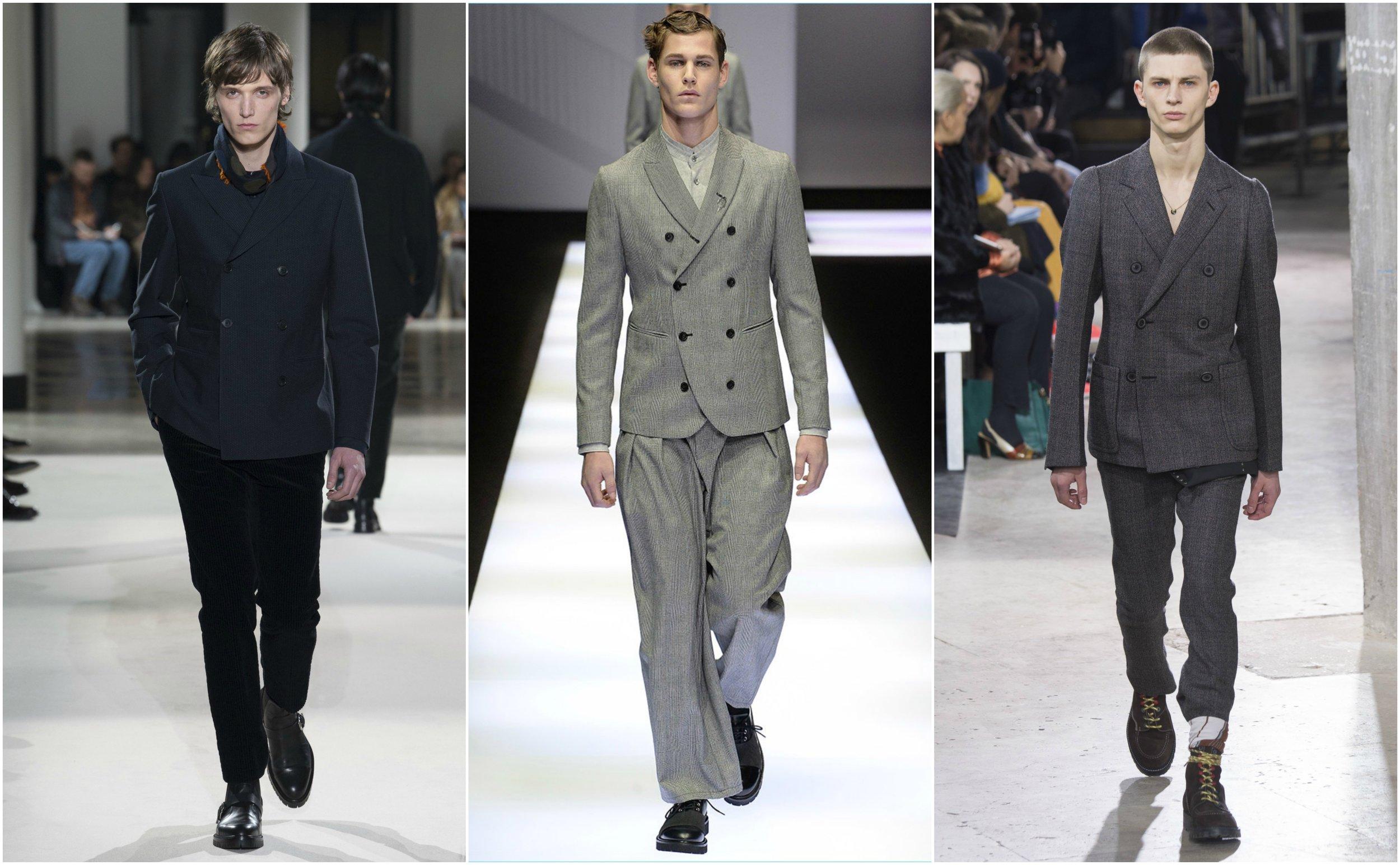 From left to right: Hermès ,  Giorgio Armani , and  Lanvin