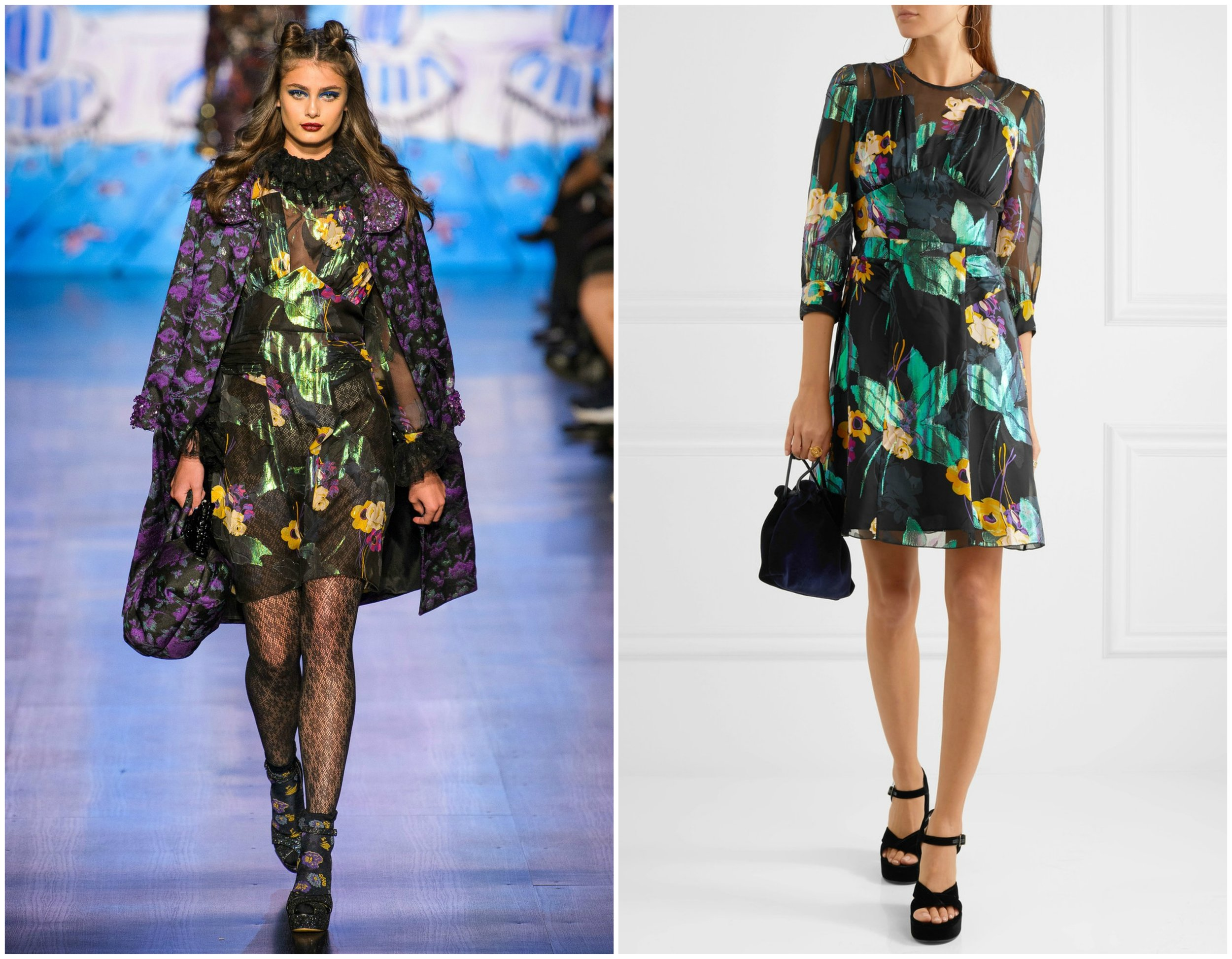 Taylor Hill rocked the runway during the 2017 Anna Sui NYFW Fall/Winter Fashion Show in a  sheer black dress . When it hit the stores, production had added lining and shortened the sleeves to better suit the consumer market.