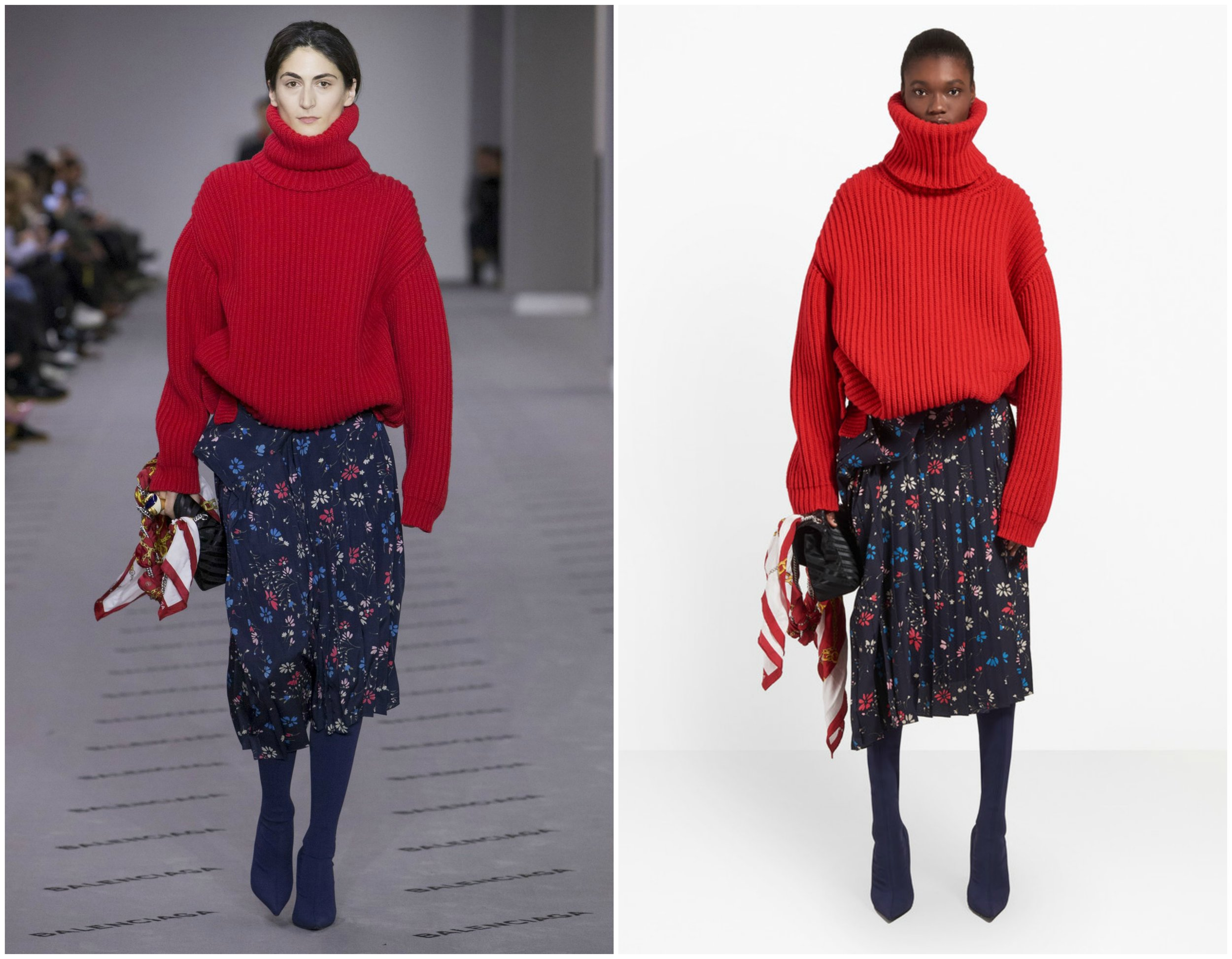 Many times a complete runway look does not become available for purchase. Lucky for us, both the  ribbed turtleneck sweater  and  floral skirt  can be found on the Balenciaga website in multiple colors.