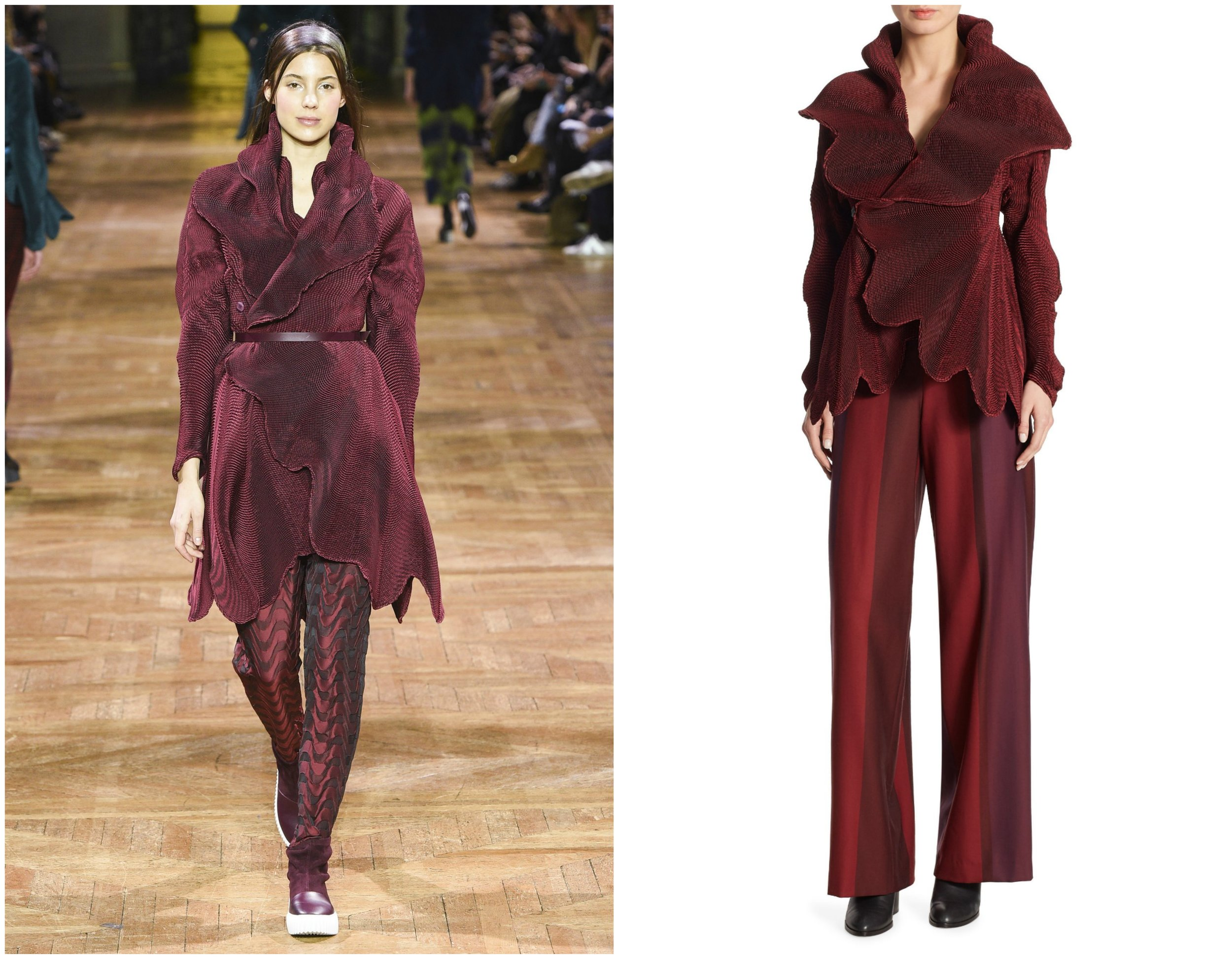 Issey Miyake's designs turn heads on the runway and in the streets. A knee-length version of this  burgundy jacket  was paired with a matching belt during NYFW while a shorter version was released for purchase to the public.