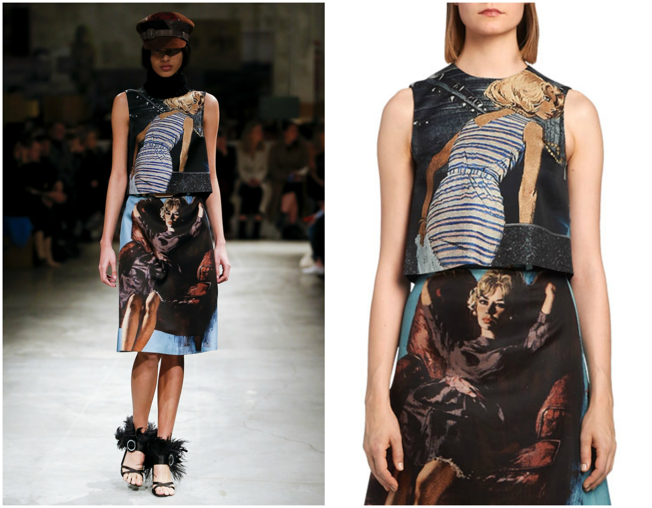 Prada never disappoints, however,when researching e-commerce sites, we were unable to find any of the printed skirts from the runway show.Nonetheless, the  printed top  can be found at Bergdorf's.