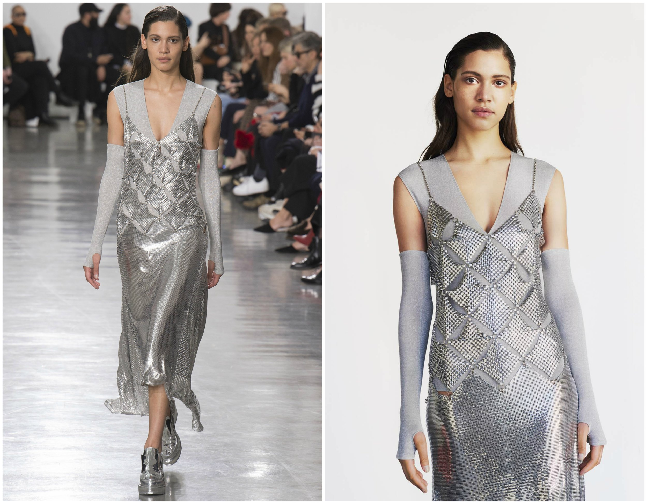 Paco Rabanne combined geometry and fluidity to the utmost perfection in this timeless piece. The  runway dress  is currently available for purchase on their website.