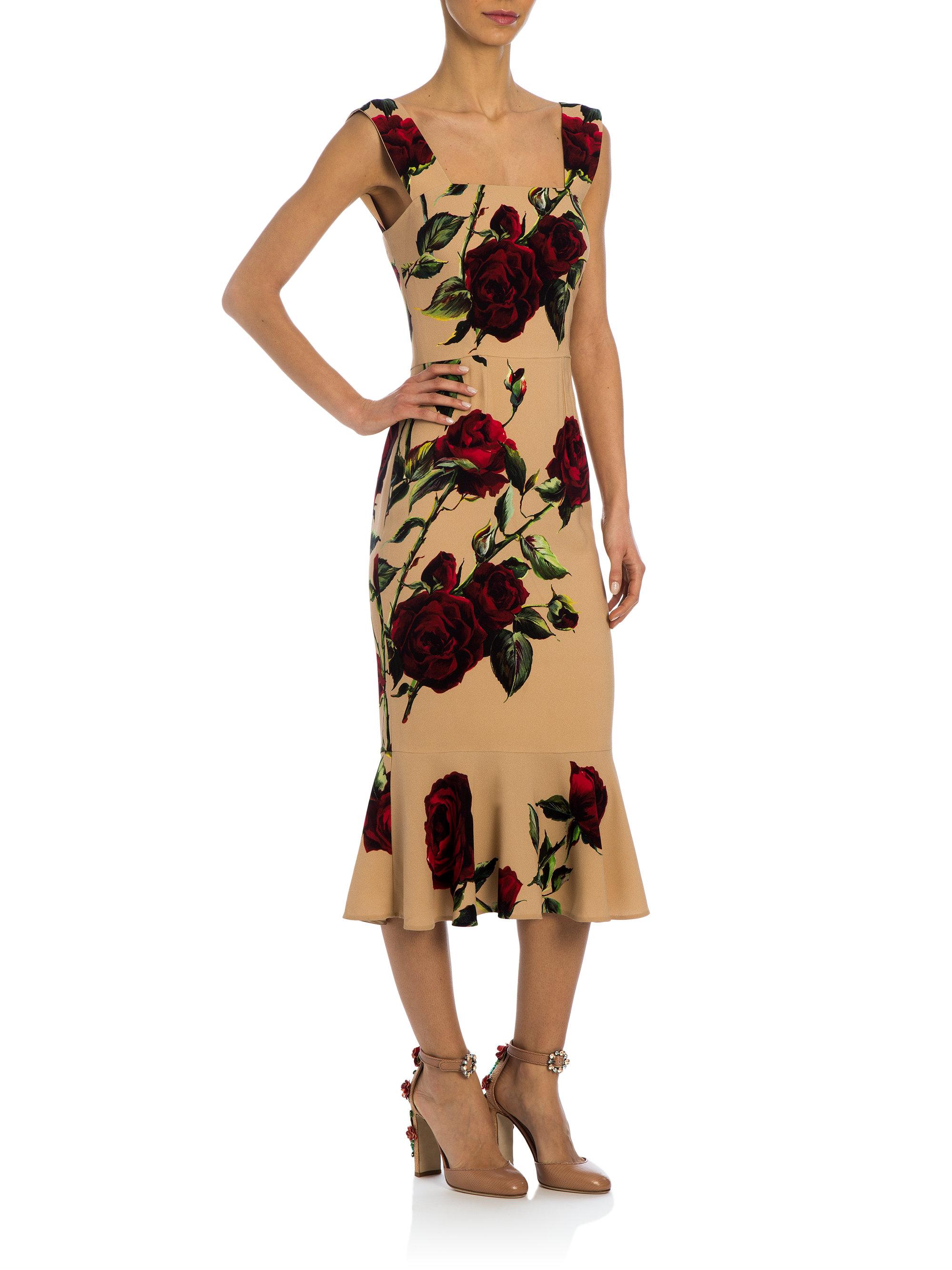 Dolce & Gabbana Pink Rose-print Cady Midi Dress