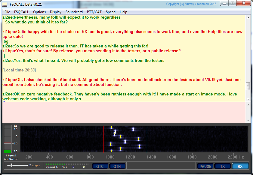 Screenshot of the  ZL2AFP FSQCALL  software with FSQCALL turned off