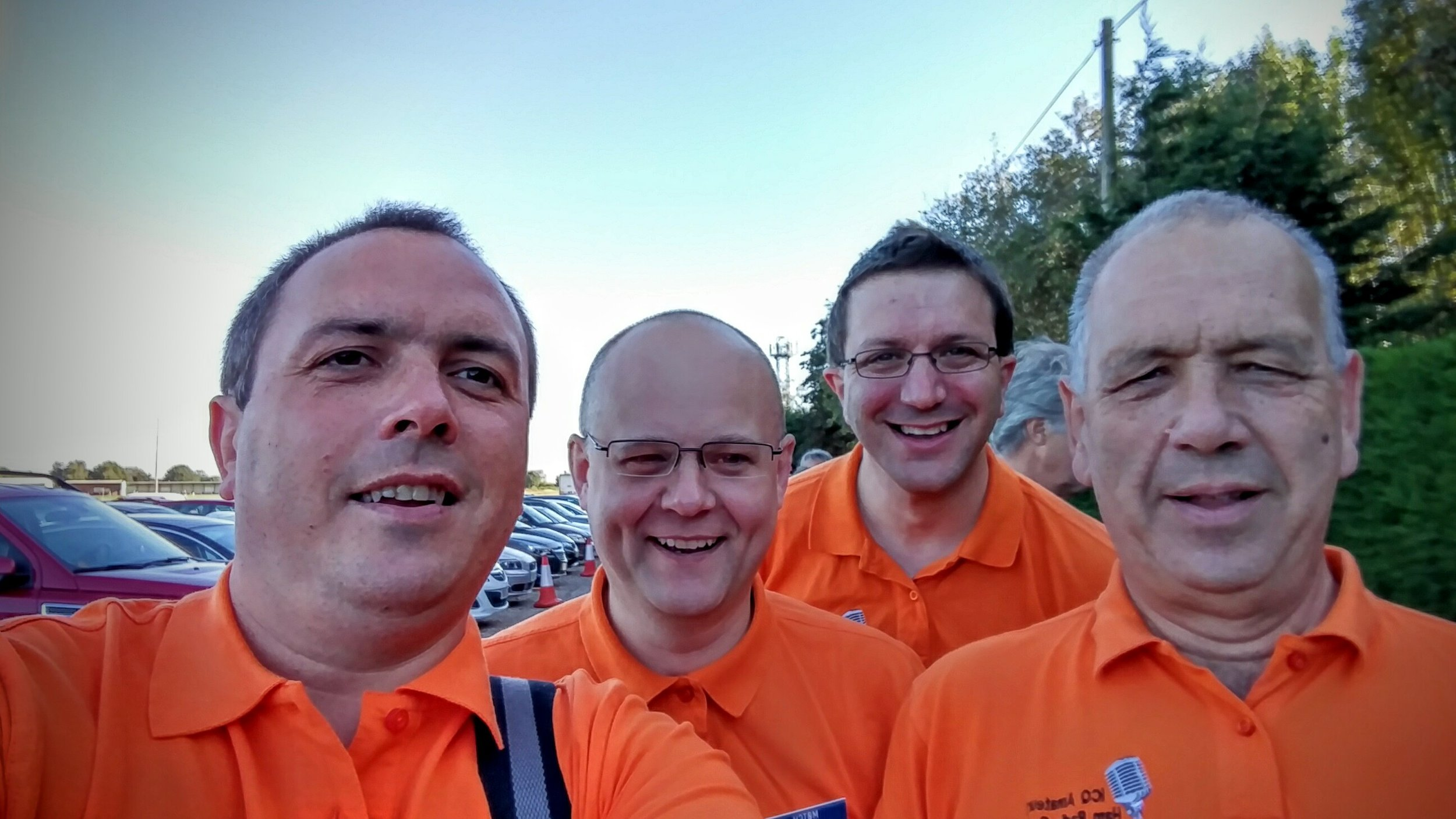 Martin Butler (M1MRB / W9ICQ), Colin Butler (M6BOY), Chris Howard (M0TCH) and Martin Rothwell (M0SGL) queue to get into Hamfest