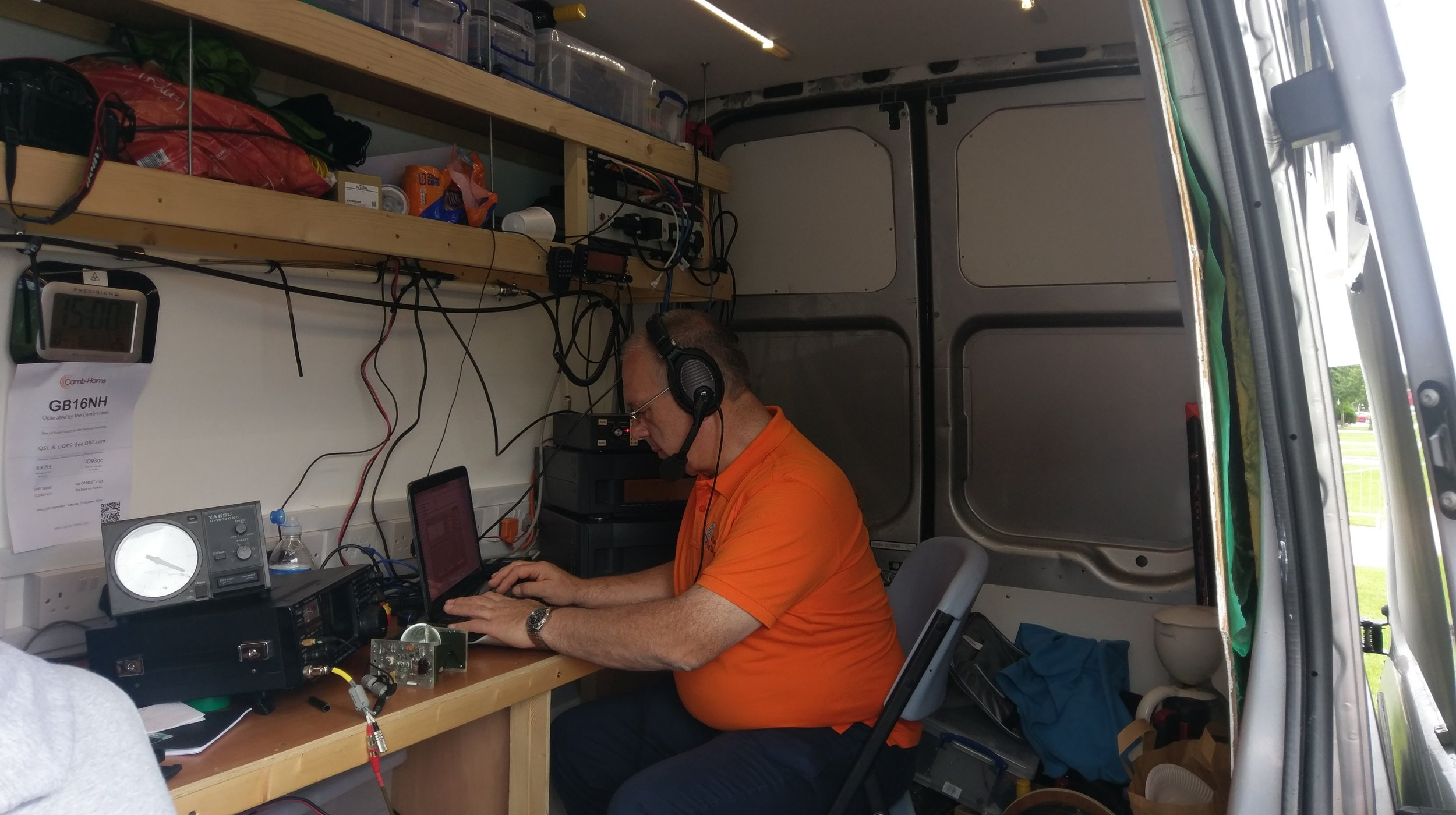 Martin Butler (M1MRB / W9ICQ) works on the Camb-Hams Flossie2 special event station - GB16NH