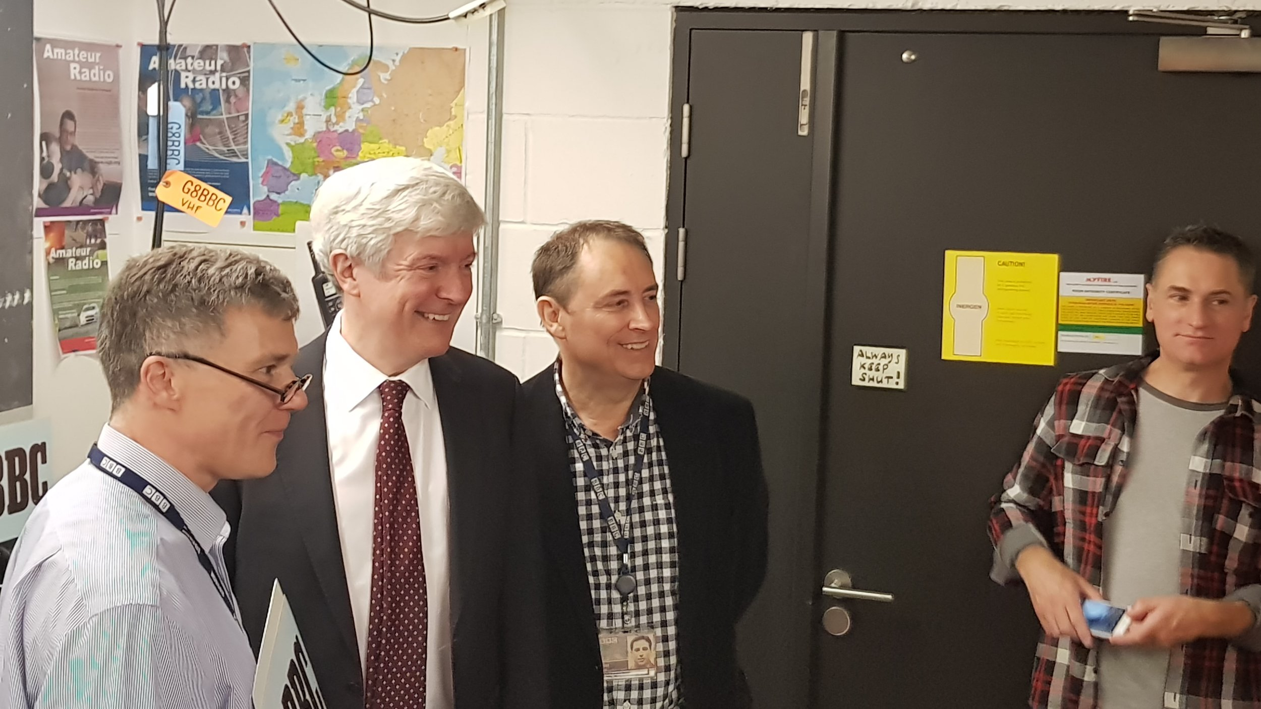 BBC Director General Lord Tony Hall (Centre) alongside Jonathan Kempster (M5AEO) left and Jim Lee, G4AEH,