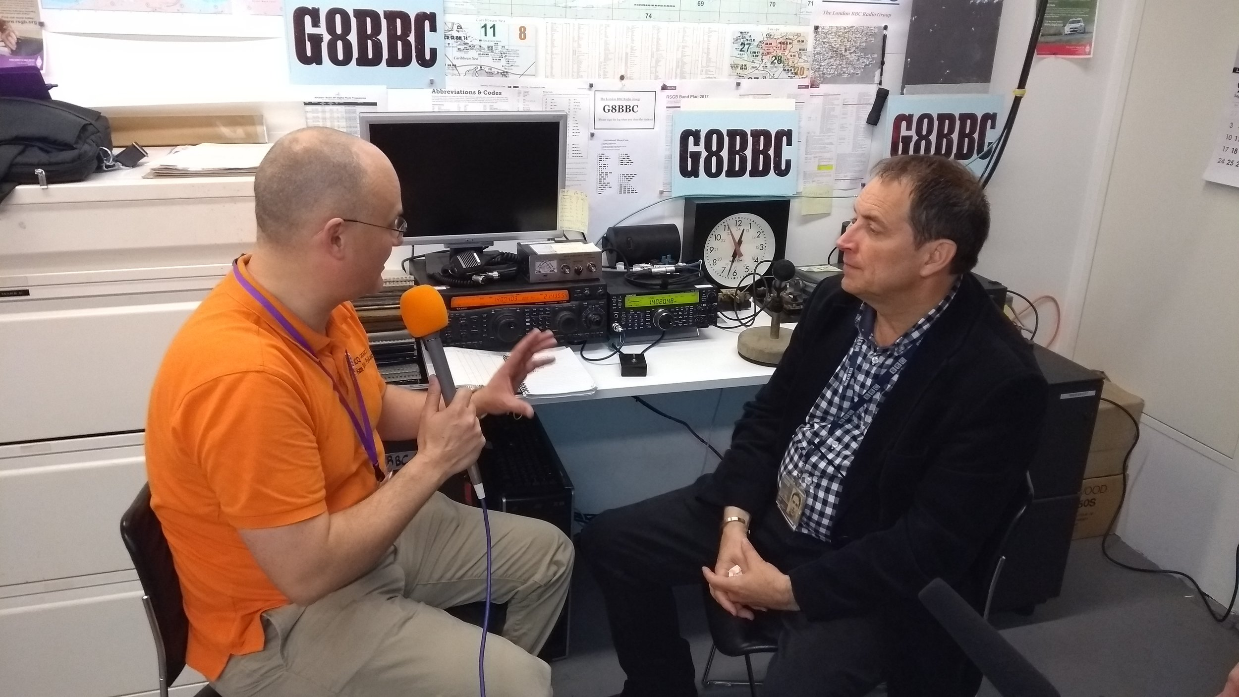 Jim Lee (G4AEH) Chairman of BBC Radio Group being interviewed by Chris M0TCH