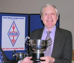 John Crabbe, G3WFM, receiving the RSGB Founders' Trophy in 2008.