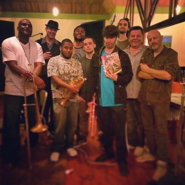 Day one in the studio! Left to right, Glen, Leo Sacks, Ricio Fruge, Barry Stephenson, Alex J Hall, James Martin, Josh Starkman, Kimball Packard, Ben Ellman (Galactic)