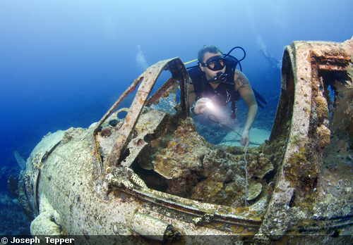 A diver explores a plane wreck in the shallows of Palau.