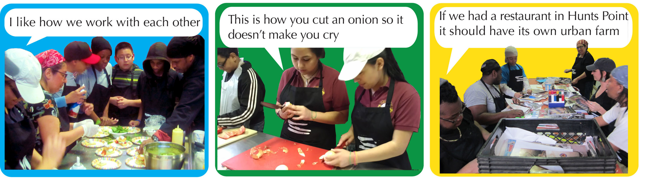 Our teen chefs creatively generating the plan for the dinner event through weekly culinary workshops.