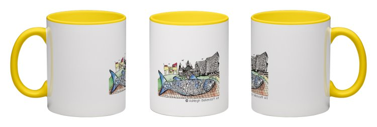 Personalised Mugs   £13.00 |  • 325 ml ceramic mugs  • Dishwasher and Microwave safe  • Personalised with Ashleigh's Quirky Illustrations • 8 colours optional for each mugs interior and handle.  © Ashleigh Bickerstaff Art.