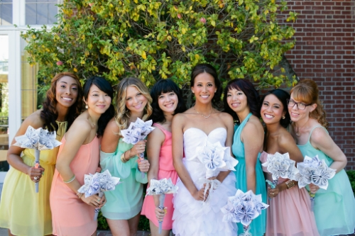 The most creative bride Jeneille and her candy coated bridesmaids. via Nate Fong Photography