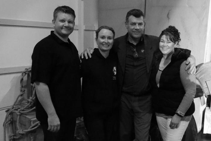 Derek Walter, Sarah Bicknell, JJ Geelen and Deana Constable on the set of  Les Misérables