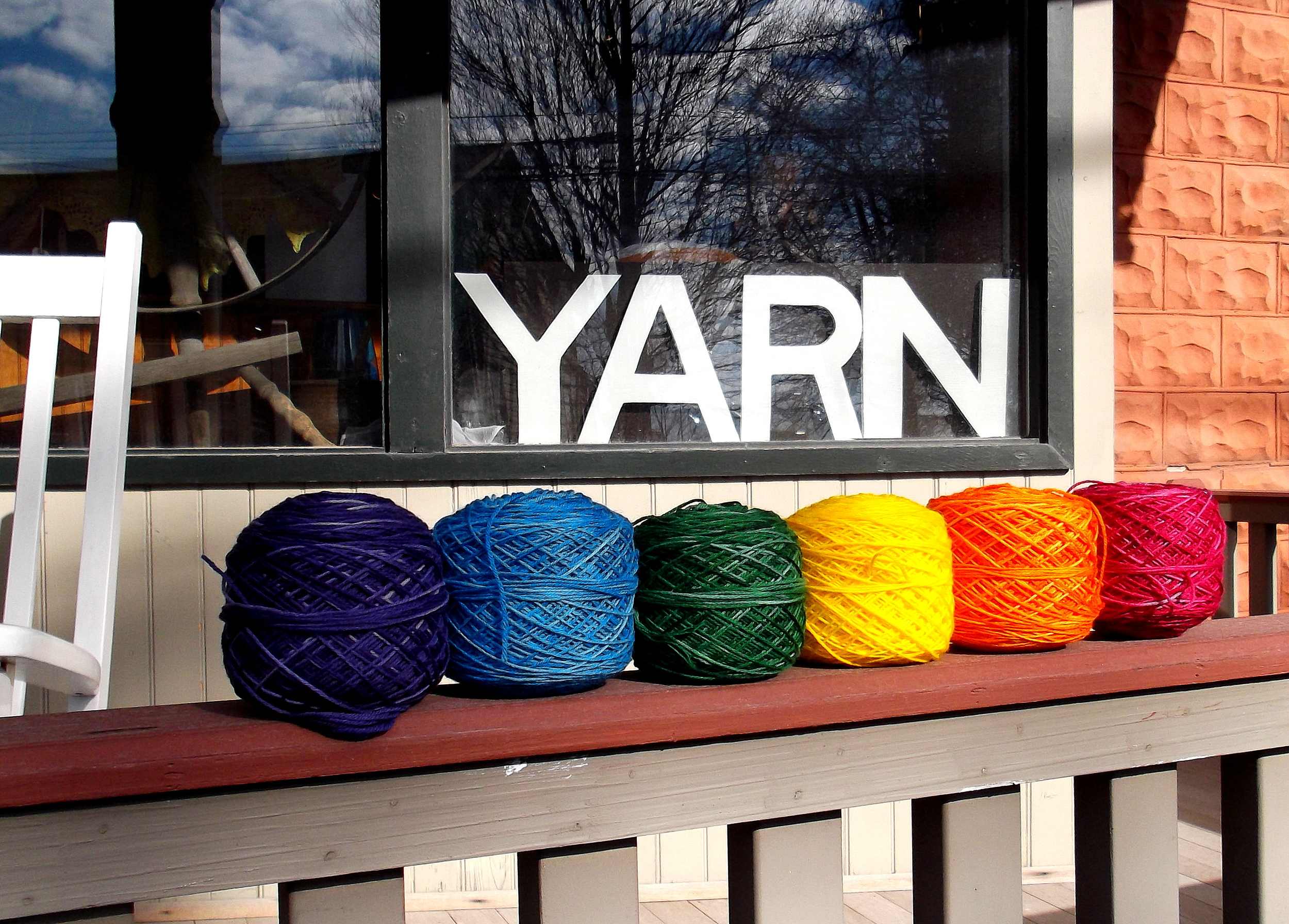 Kettle Dyed Sock Yarn is available in our popular Rainbow Sampler and in 115 gram skeins.
