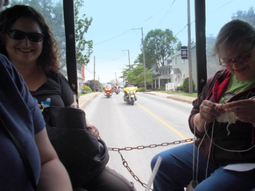 This was the view out the back of our Knitting Buggy Ride last year--some bikers who eventually got a little closer to see what we were knitting!