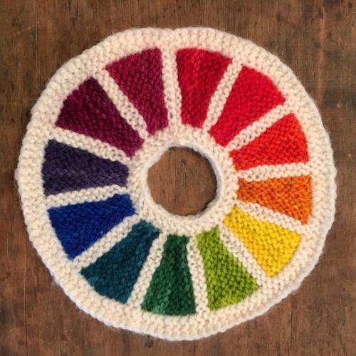 color wheel designed & knit by artist Erica Dirks