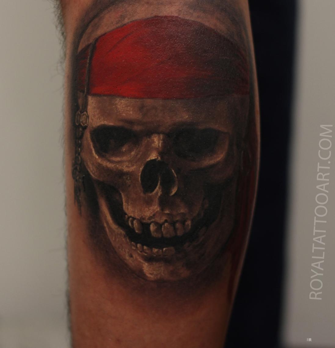 skull tattoo pirate realistic