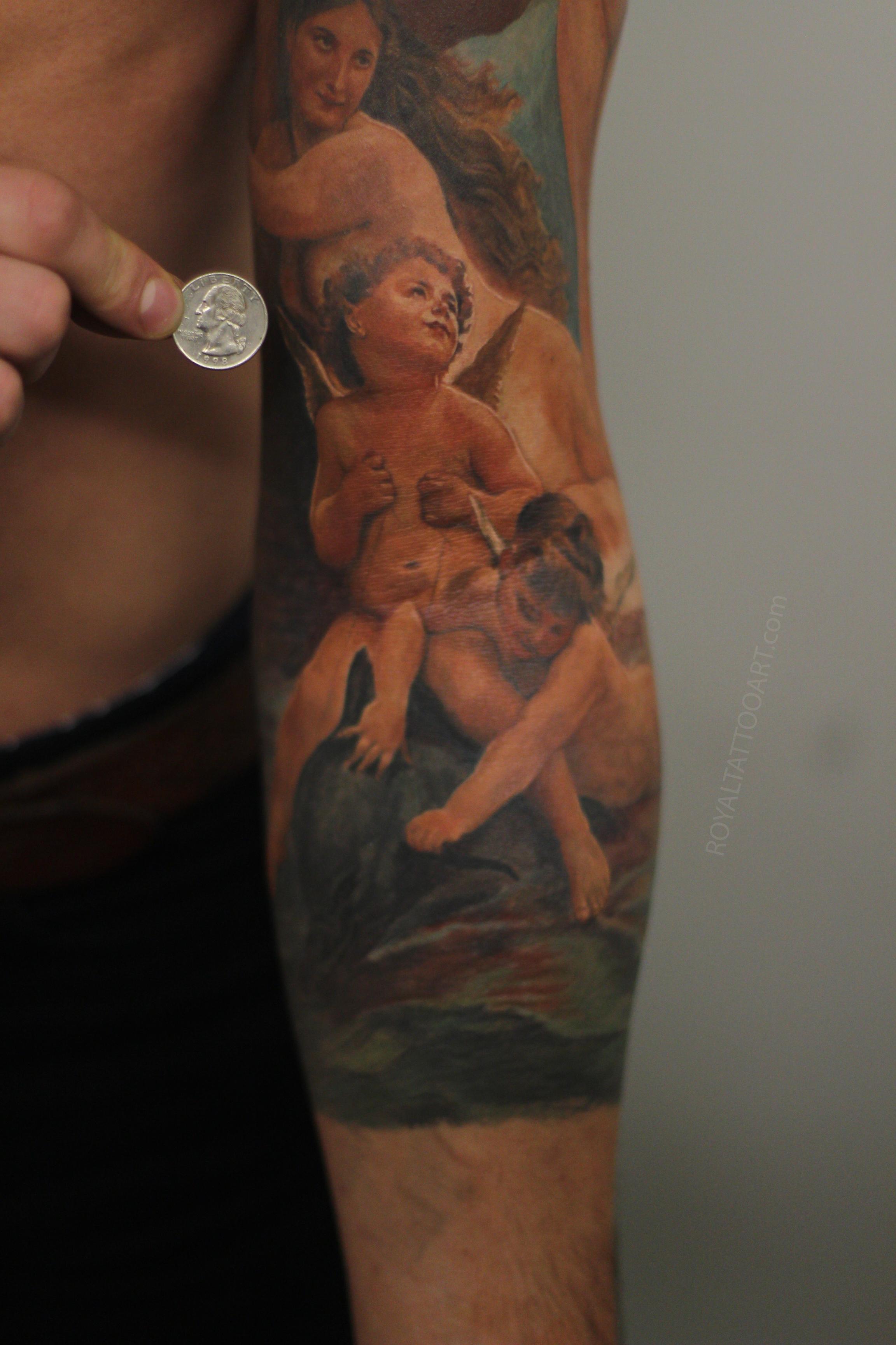 Cherub detail close up with coin tattoo Royaltattooart.jpg