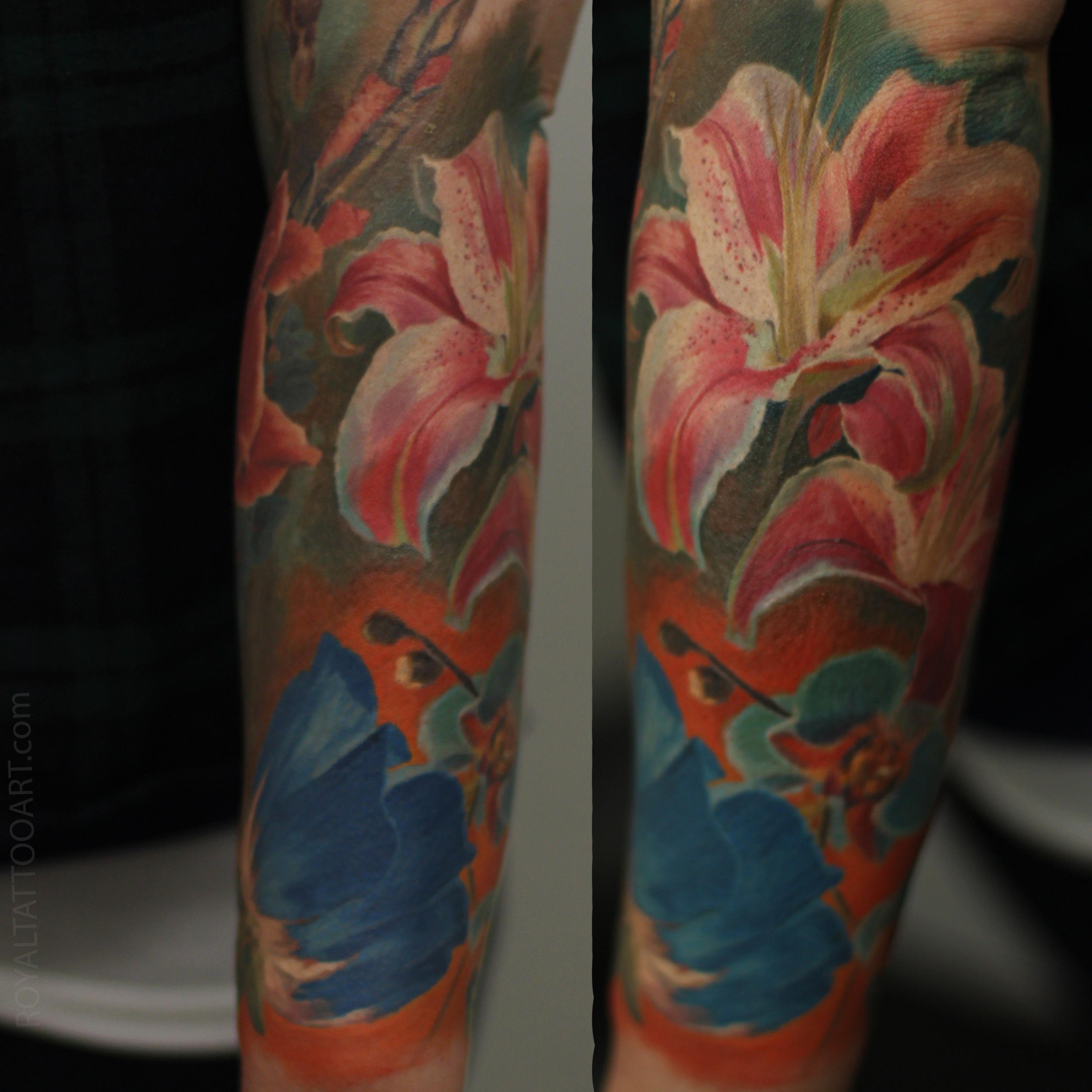 lilie lily realisirc color tattoo orchid nyc