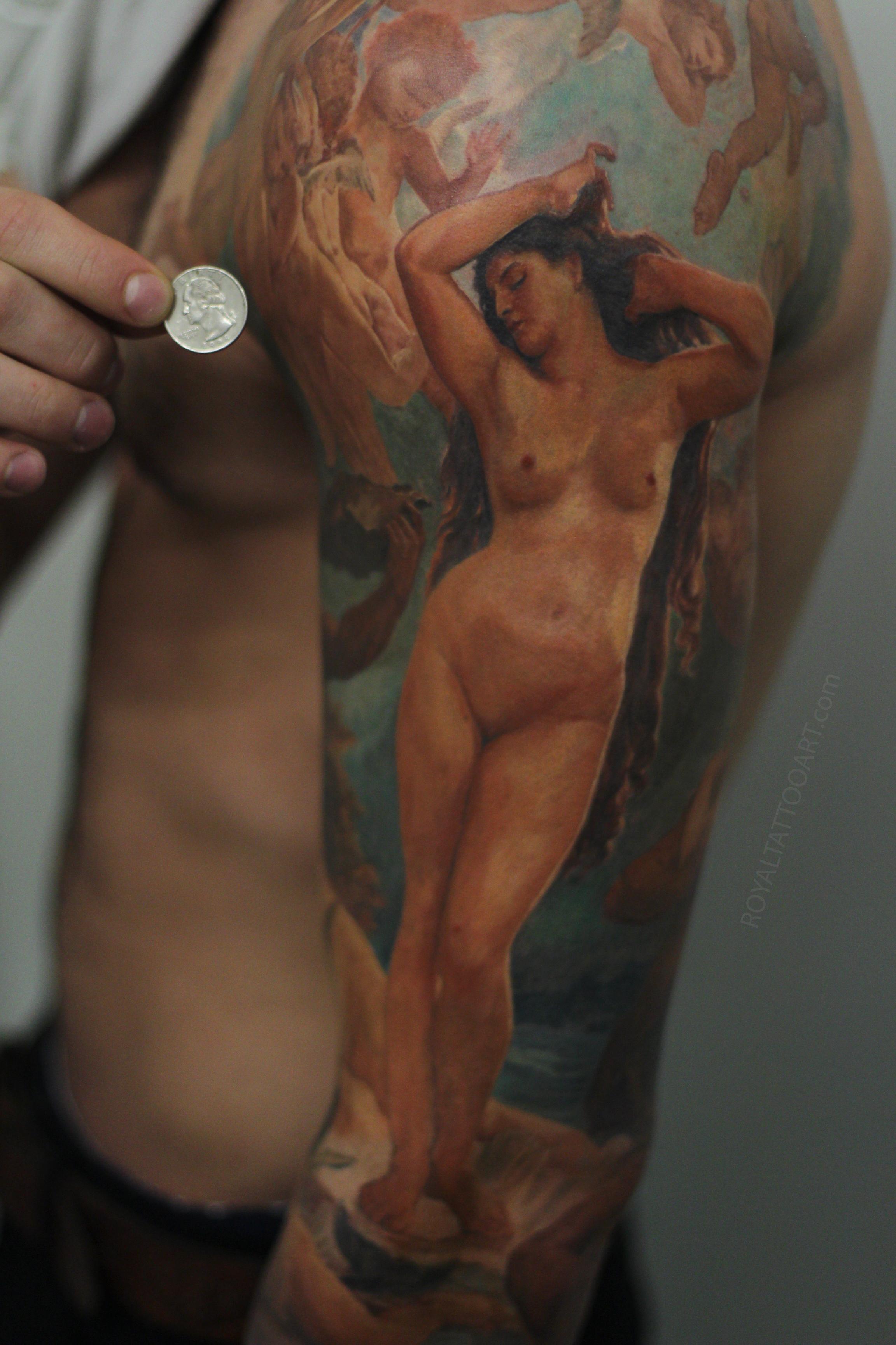 Birth of Venus Realistic color tattoo nyc royal .jpg