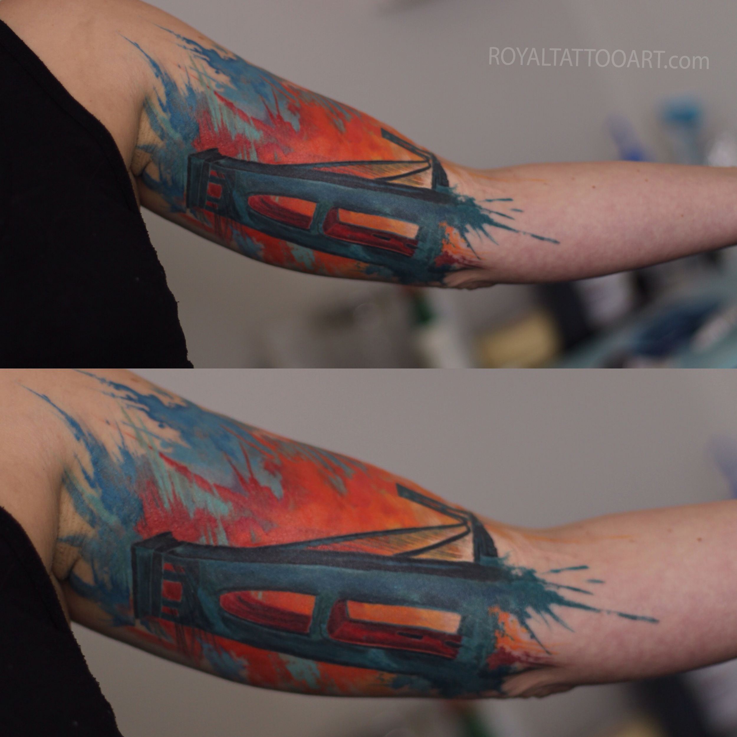 Water color bridge inner arm tattoo
