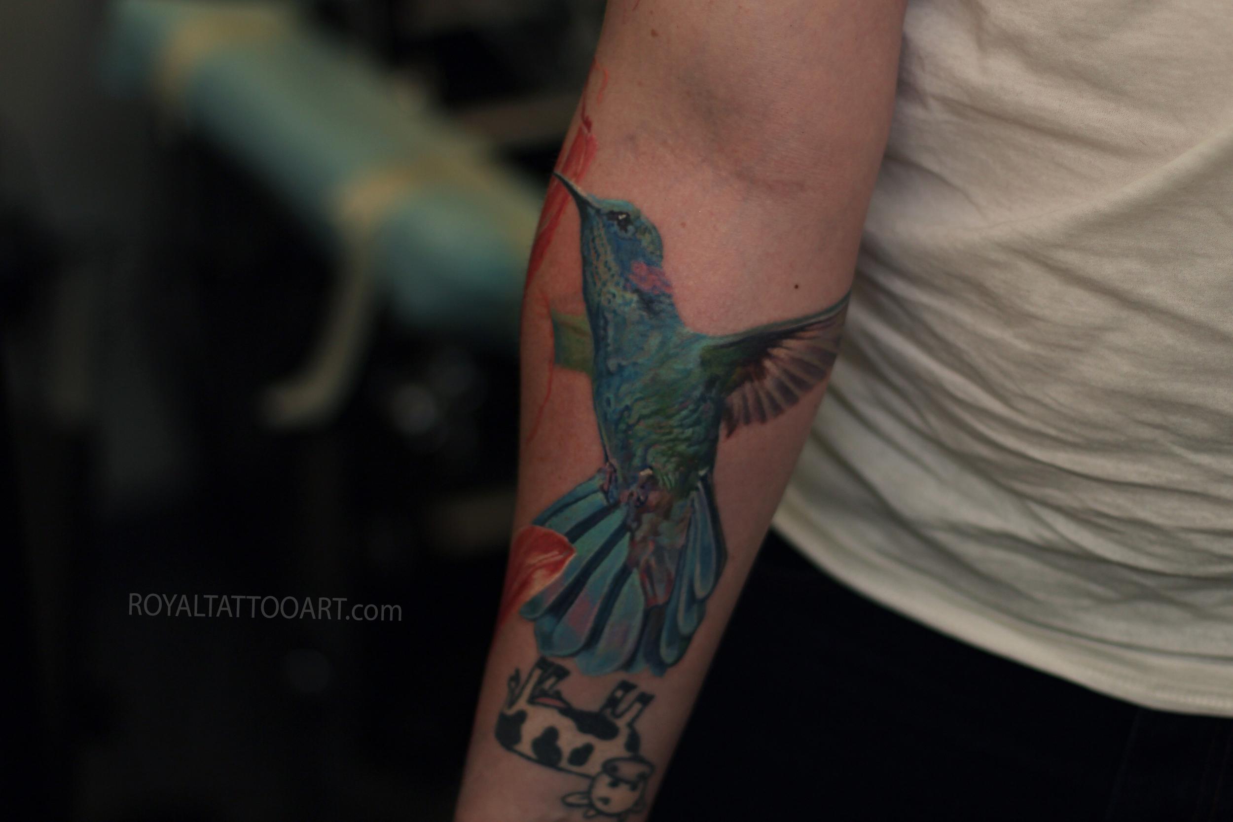 hummingbird tattoo realistic nyc color arm