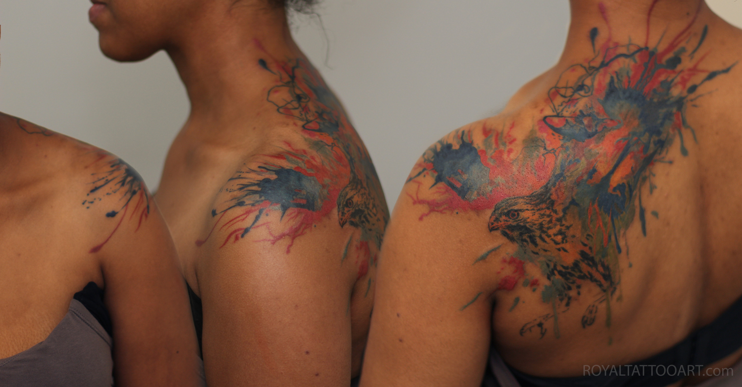 Water color hawk eagle tattoo splatter splash painting artist nyc new york Royal Jafarov