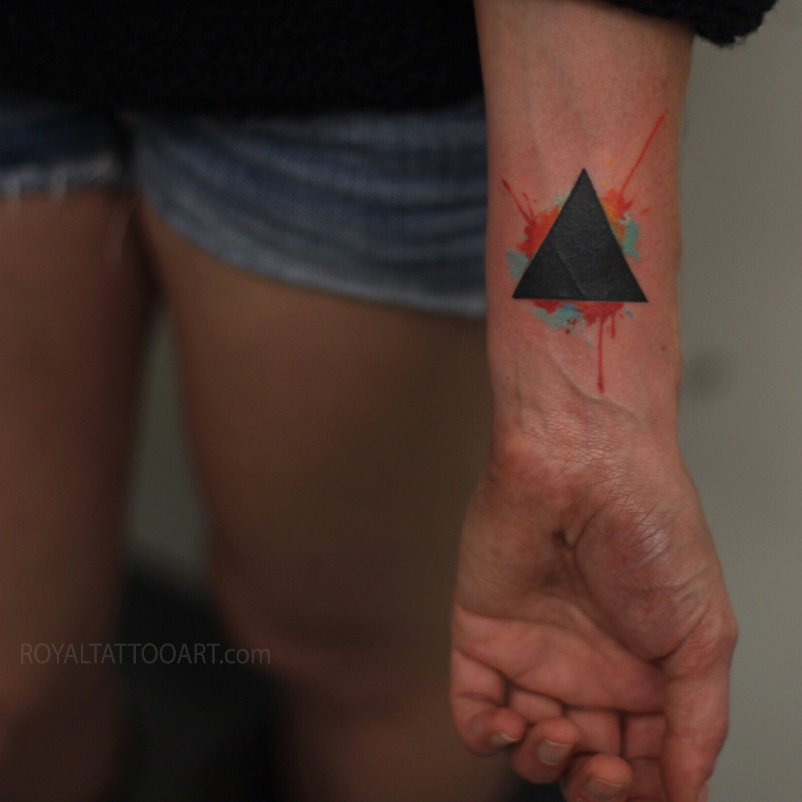 tattoo triangle black abstract watercolor splatter tattoo ink nyc new york Royal