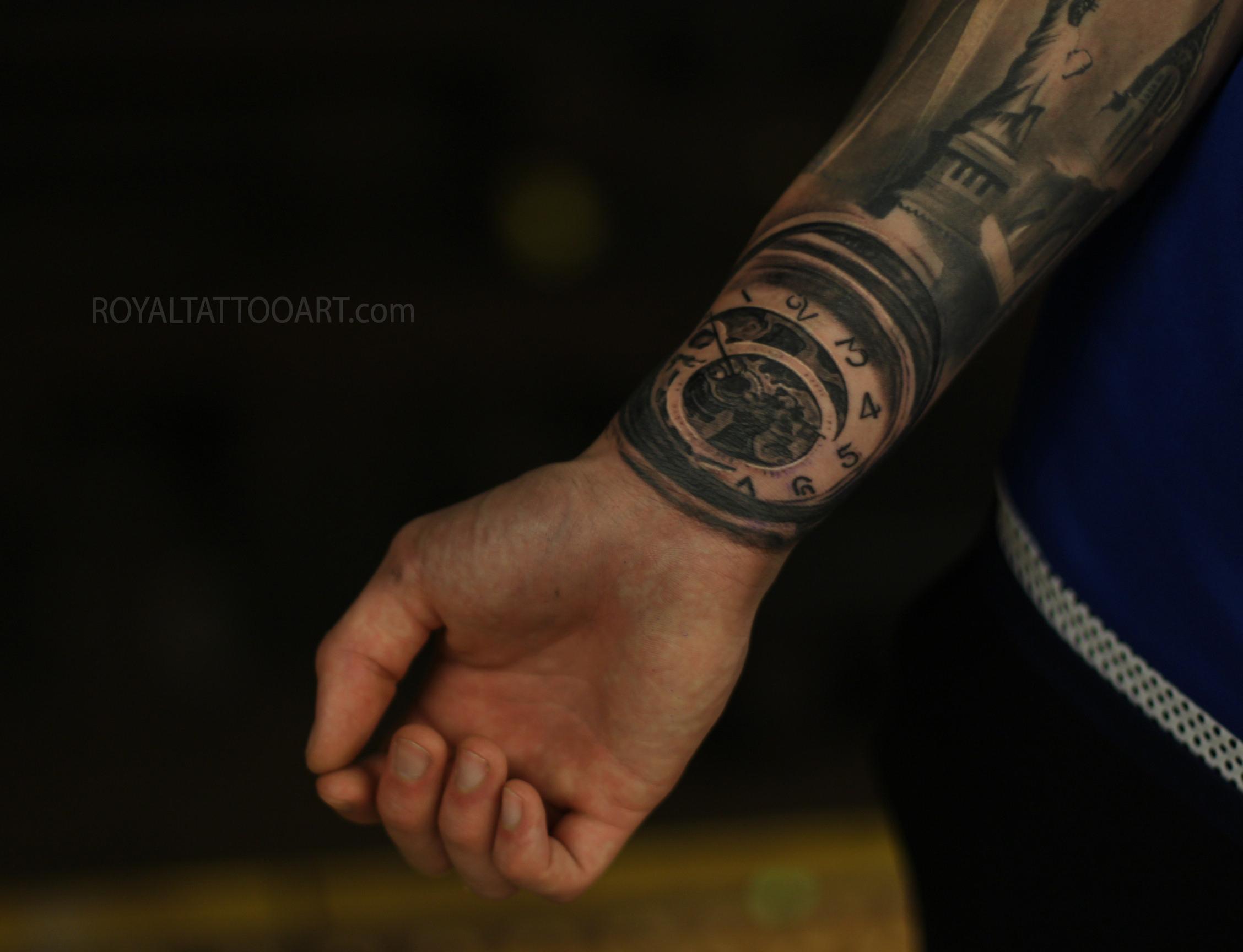 pocket watch tattoo black and grey realistic