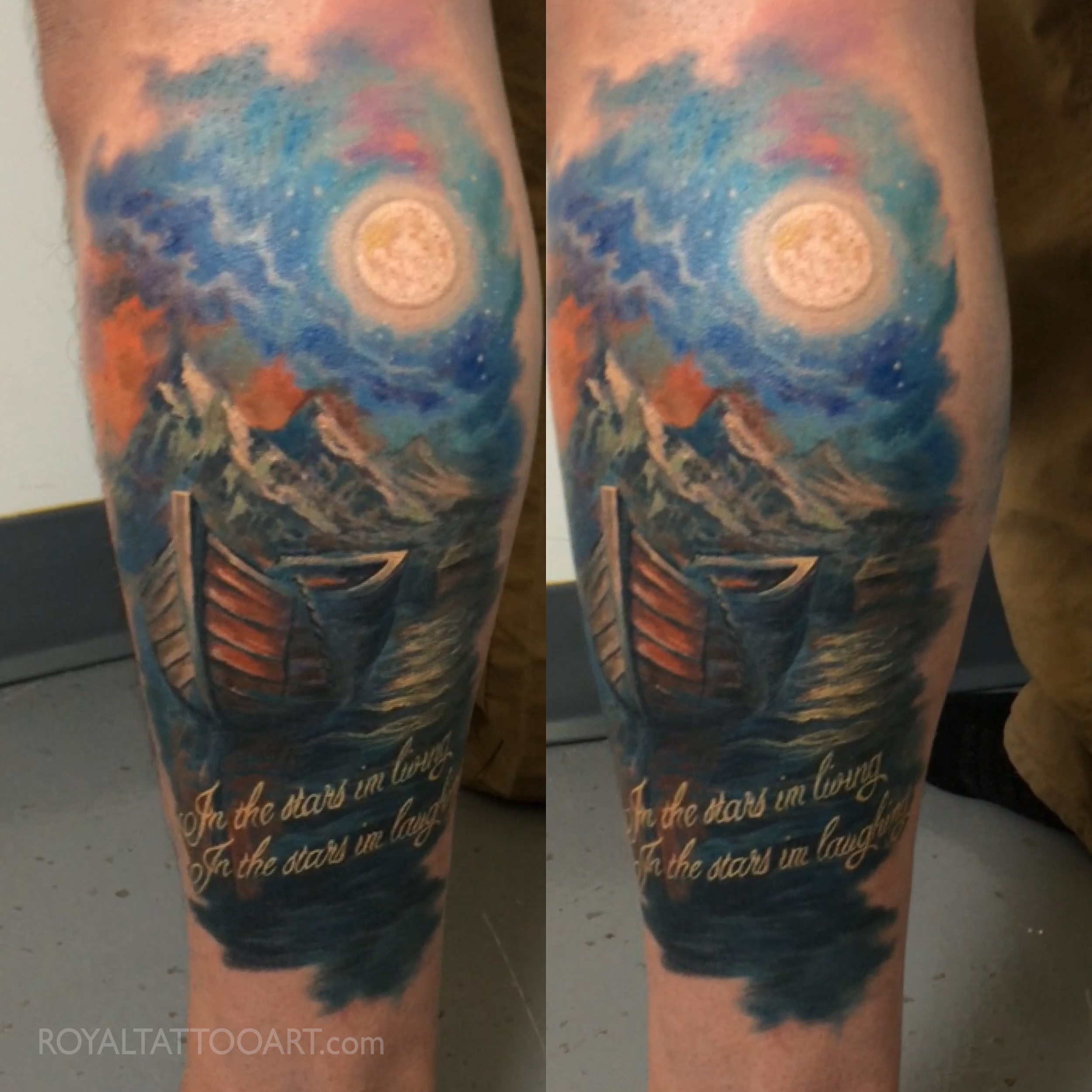 boat landscape night space stars tattoo memorial night silent.jpg
