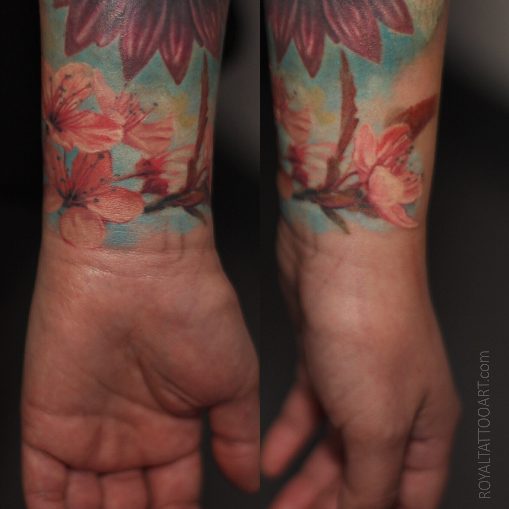 nyc new york ny color realistic cherry blossom flower tattoo ink pink wrist female girl artist costum tattooer