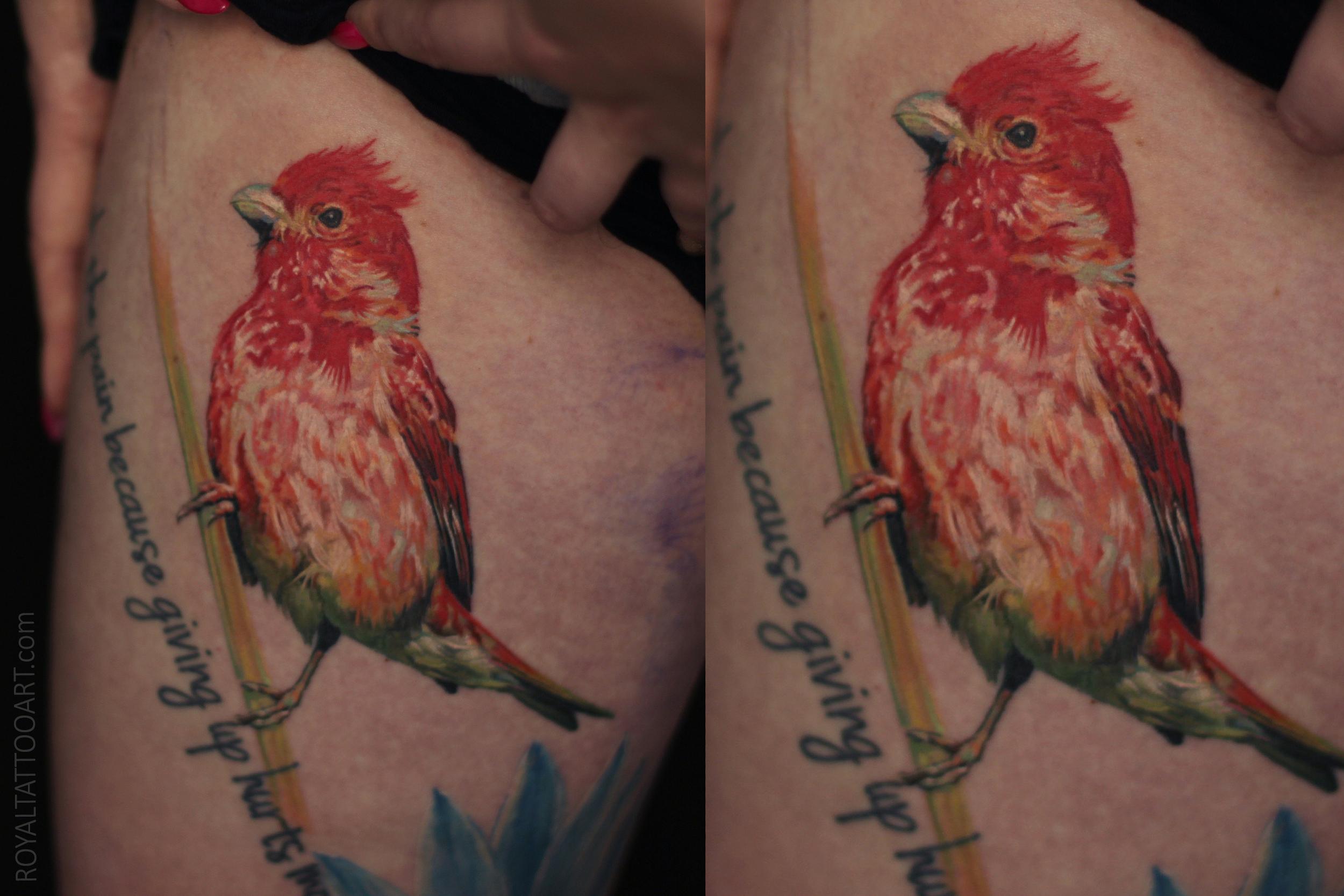 himalayan rose finch bird tattoo color realism nyc