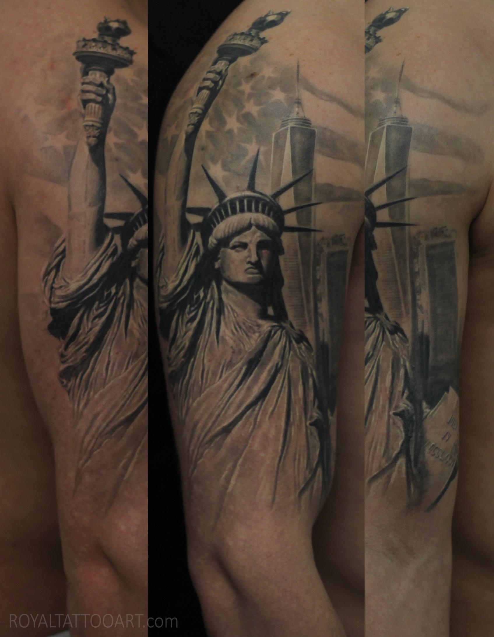 statue liberty nyc freedom tower american flag manhattan tattoo black and grey realism realistic photo realistic royal tattoo art.jpg