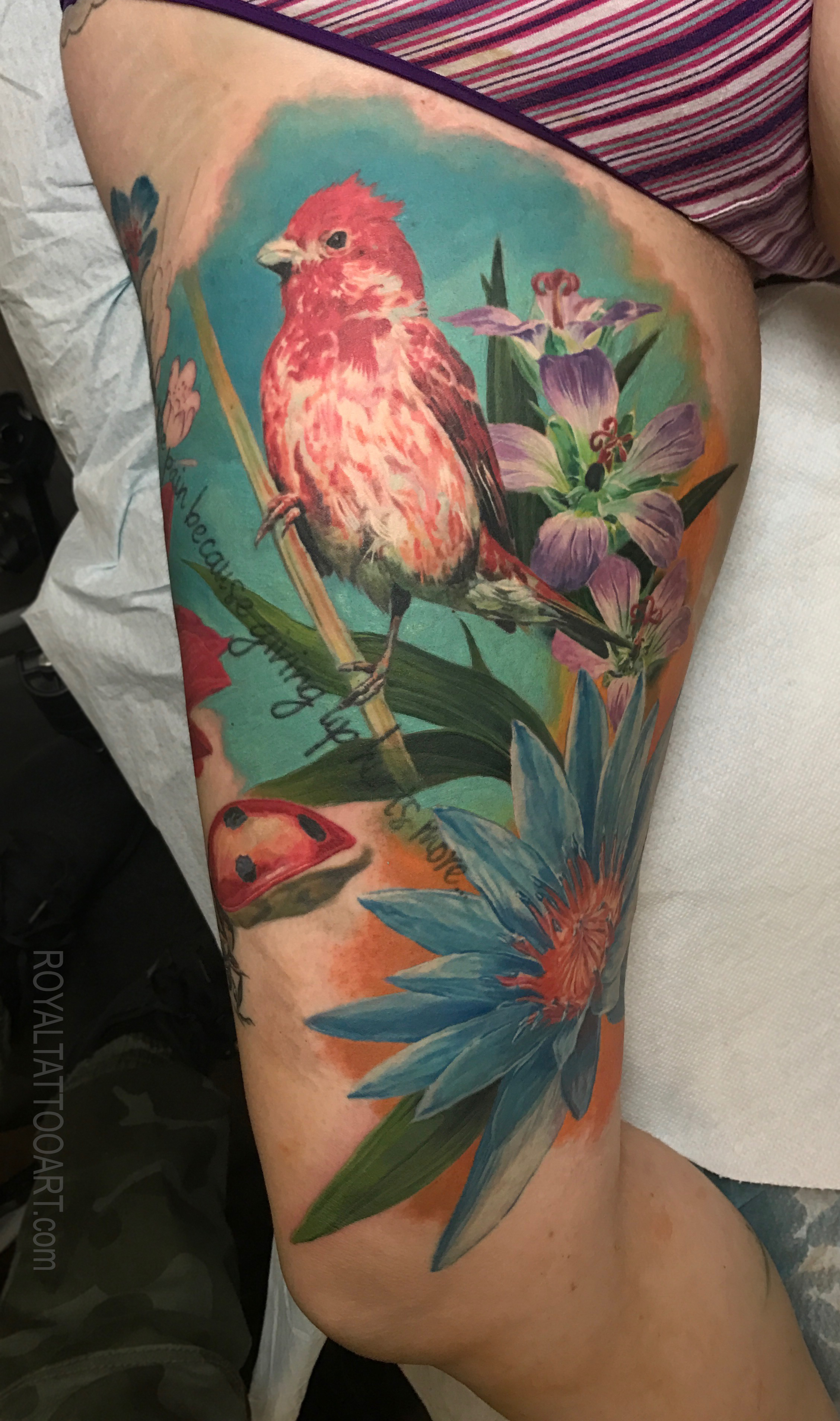 bird floral leg sleeve in progress