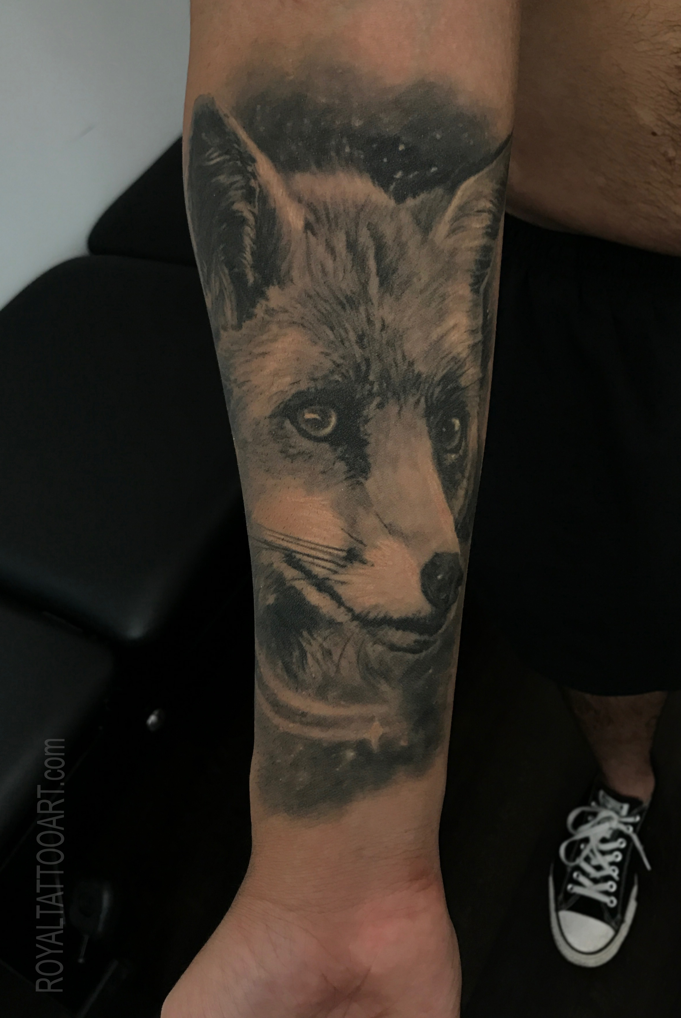 fox portrait tattoo and space