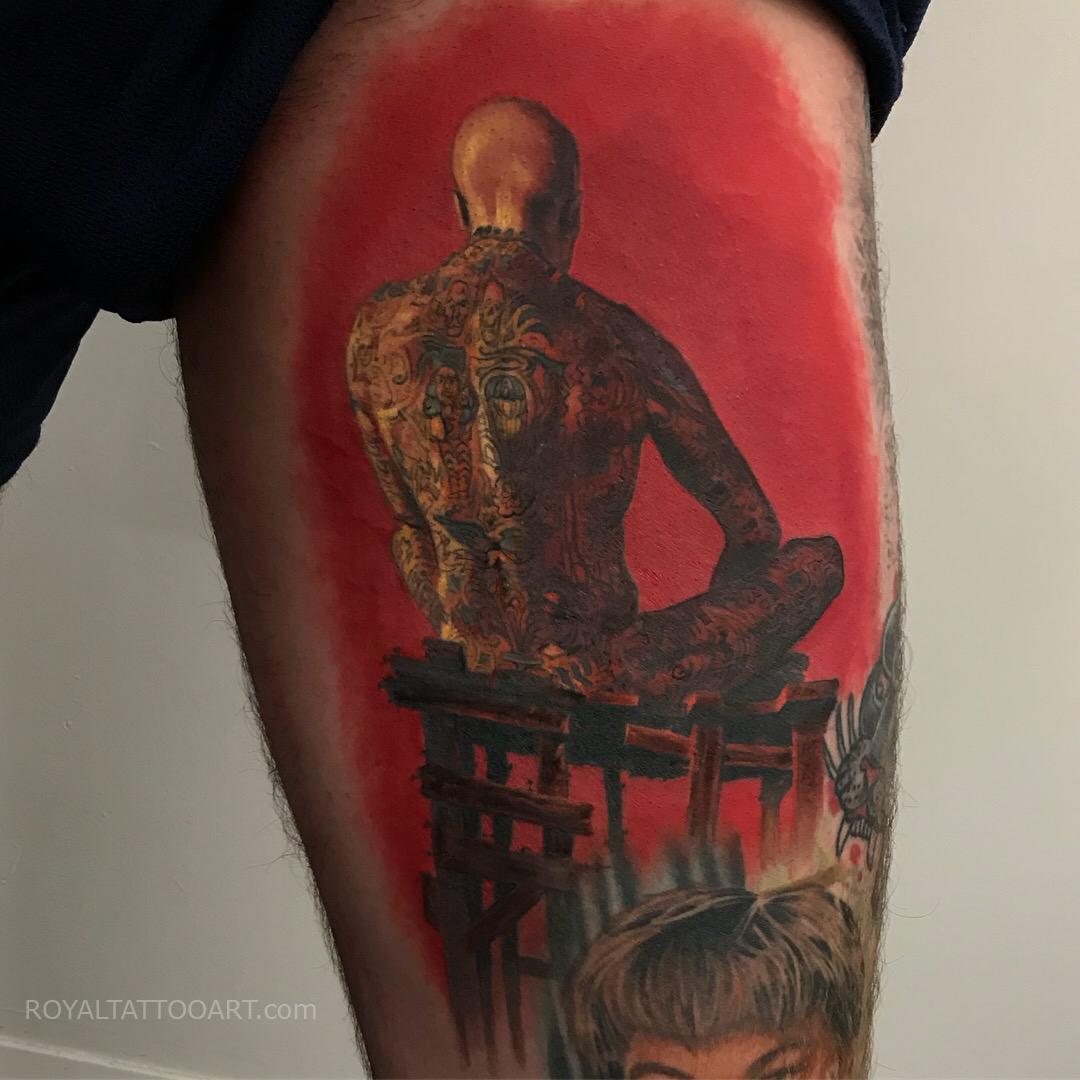 art tattoo color painting tattoo single needle