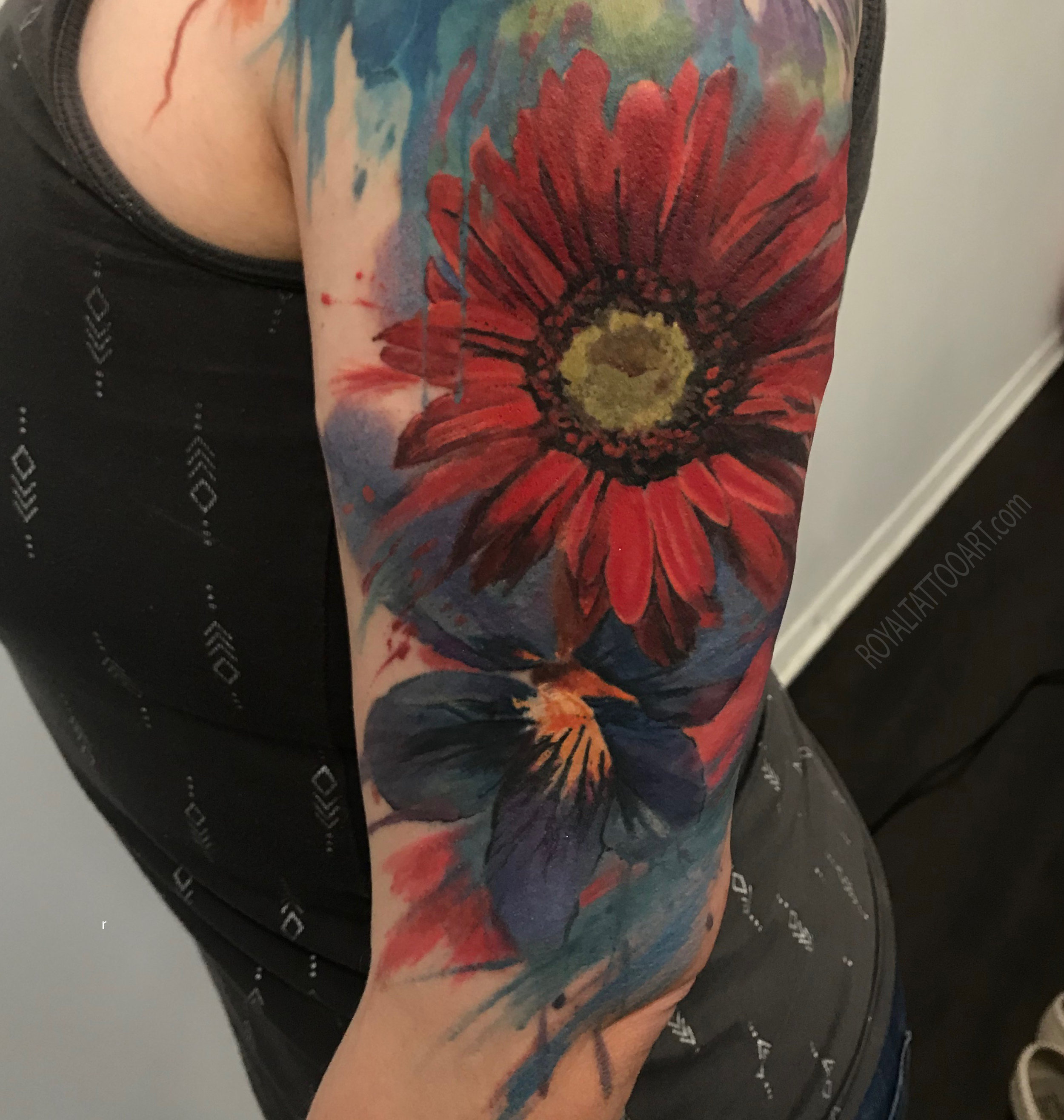 abstract realism watercolor red blue flower .jpg