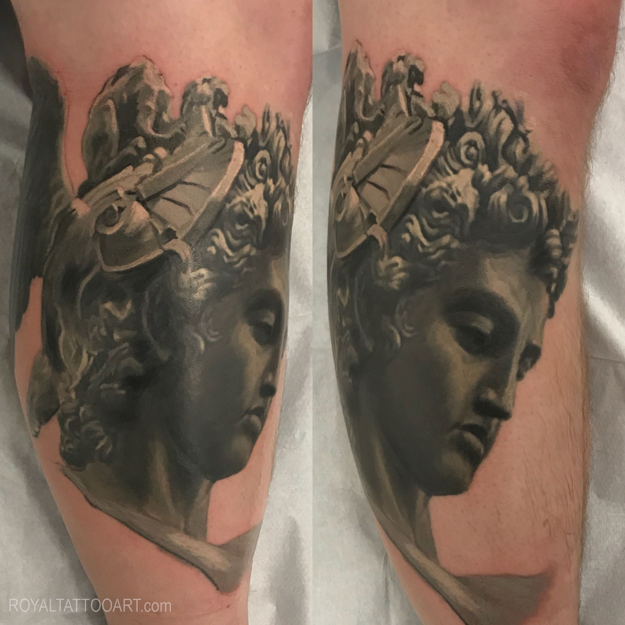 statue tattoo realism realisitc portrait