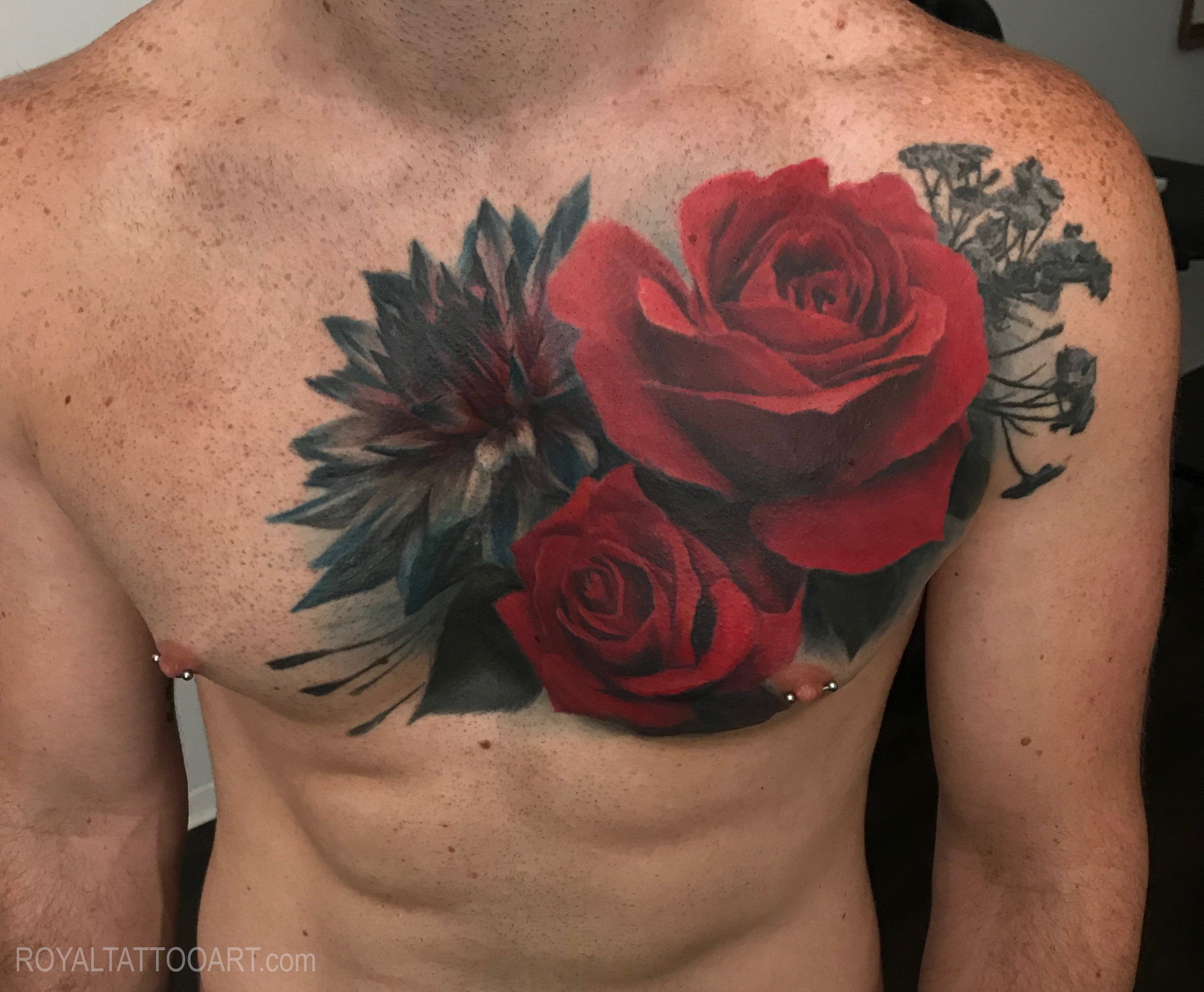 rose flower tattoo color realistic