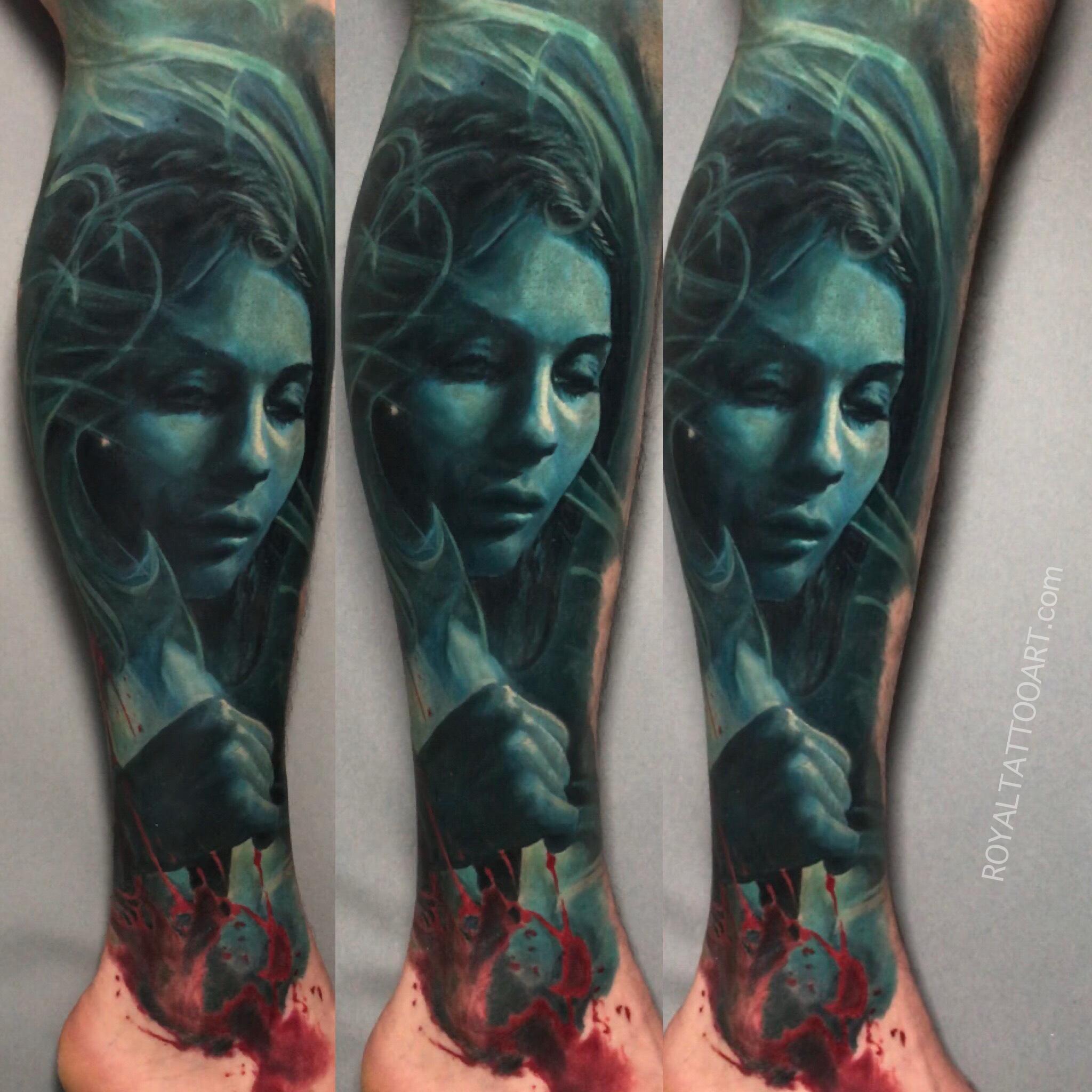 dark art portrait color realism horror scary tattoo realisitc nyc new yorl