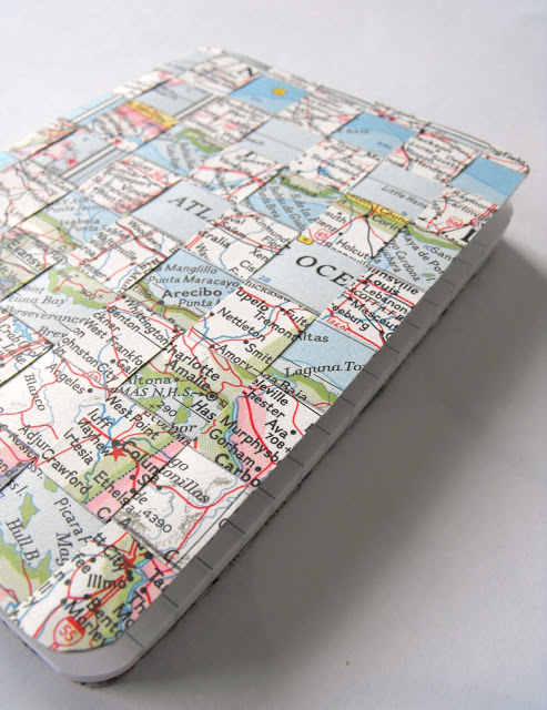 Woven map notebook photo  via (& tutorial)  here