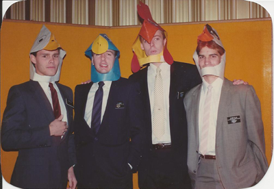 Sterling as a missionary. He is the second 'hen' from the left. Let's files this under 'strange missionary antics.'