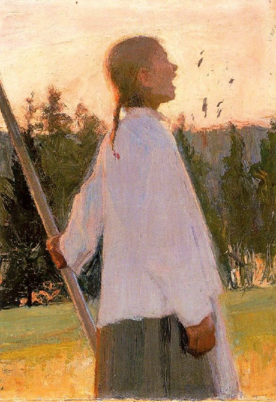 Painting by  Ellen Thesleff . I love this. Is she singing? Calling her kids in from a hike? Found via Pinterest.