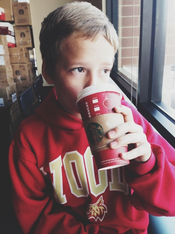 Parker at our Starbucks breakfast date.