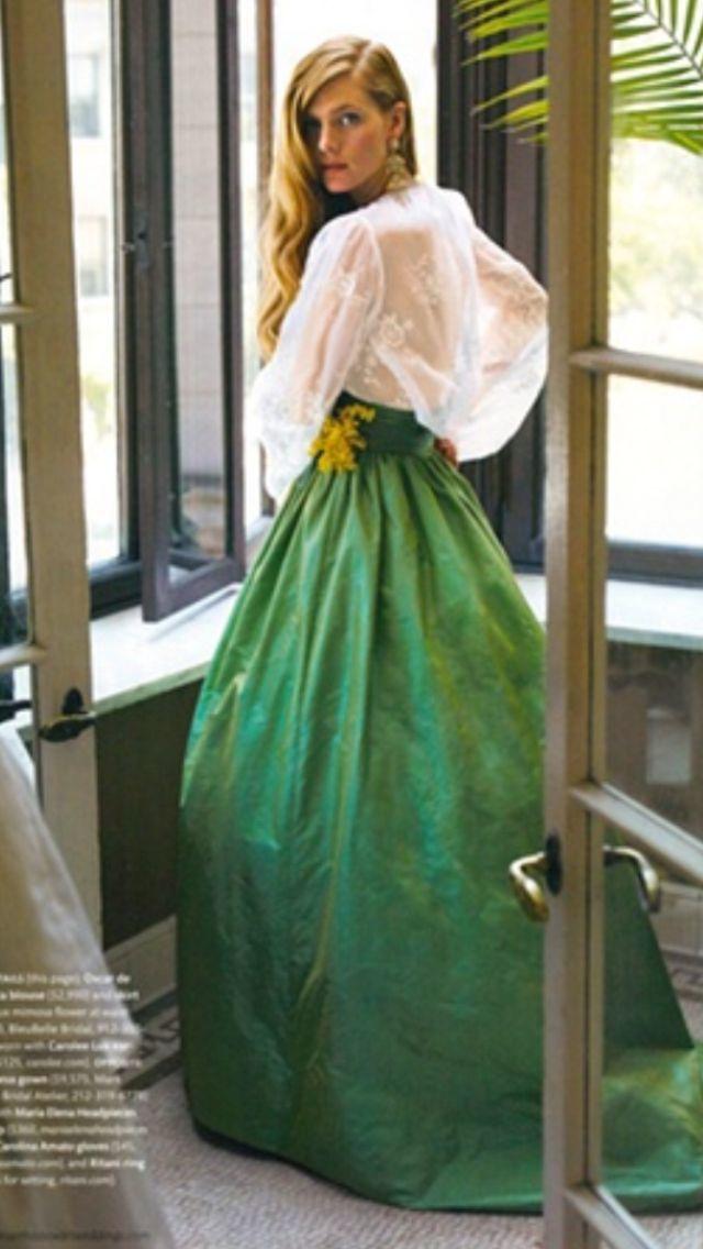 Oscar de la Renta blouse and skirt, no photo source found