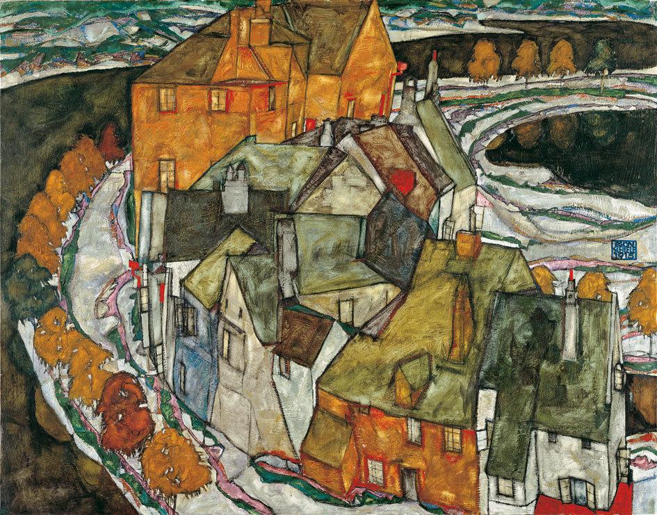 Egon Schiele, Crescent of Houses, 1915